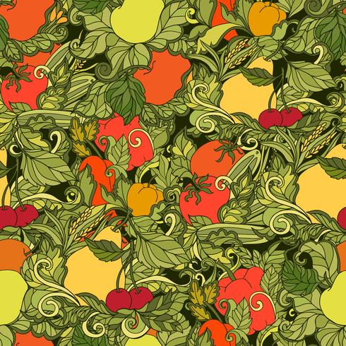 Folhas de legumes e frutas sem costura padrão vetor