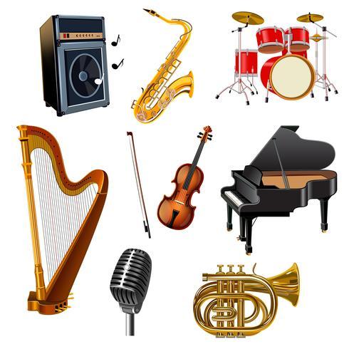 Conjunto de instrumentos musicais vetor