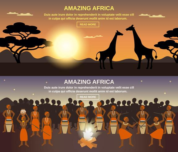 Conjunto de Banners de pessoas africanas vetor