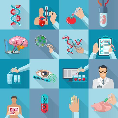 Conjunto de ícones de biotecnologia plana isolada vetor