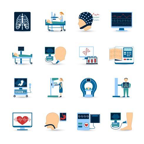 Conjunto de ícones de exame médico vetor