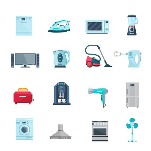 Ícones de cores planas conjunto de aparelhos domésticos vetor