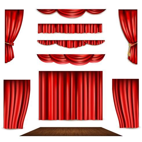 Conjunto de ícones de cortina e palco vermelho vetor