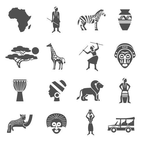 Conjunto de ícones de preto branco de África vetor
