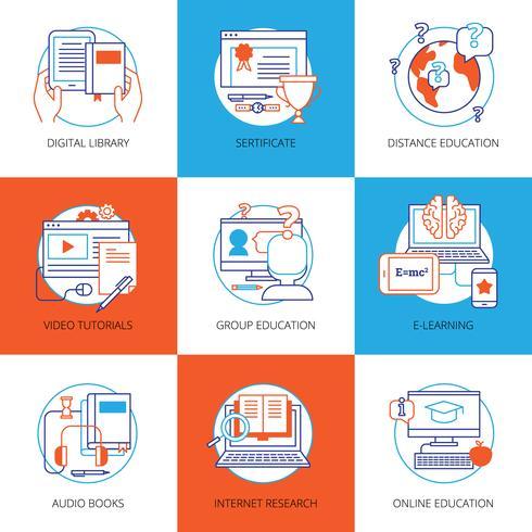 Conjunto de ícones na educação on-line de tema vetor