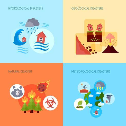 Desastre natural 4 ícones lisos quadrados vetor