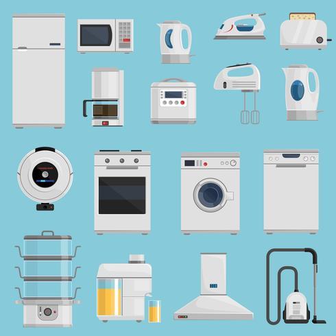 Conjunto de ícones de aparelhos domésticos vetor