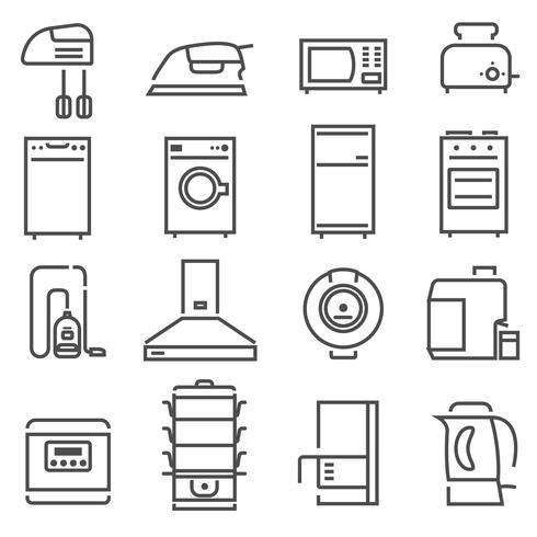 Aparelhos de casa preto branco conjunto de ícones vetor