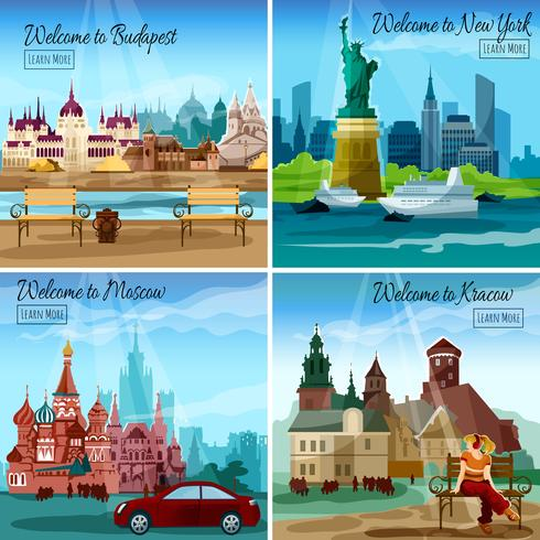 Conjunto de cidades famosas vetor