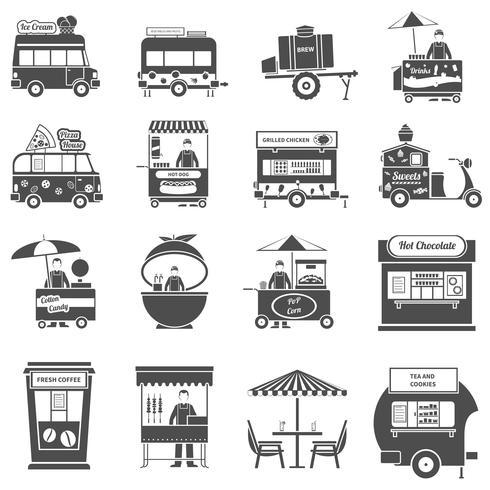 Conjunto de ícones de comida de rua preto branco vetor