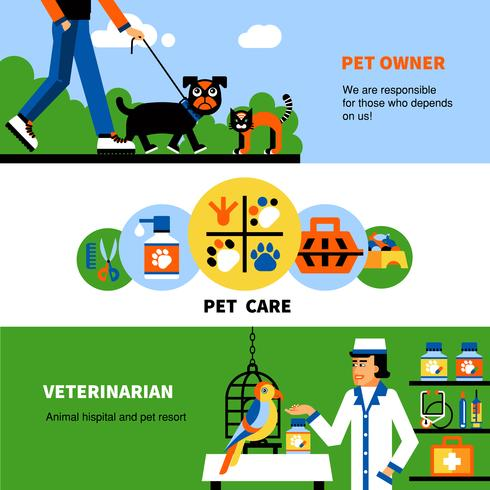 Banners veterinários com animal de estimação e veterinário vetor