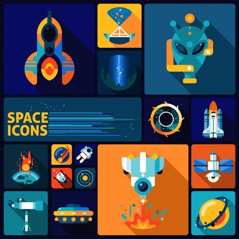 conjunto de ícones de espaço plana vetor