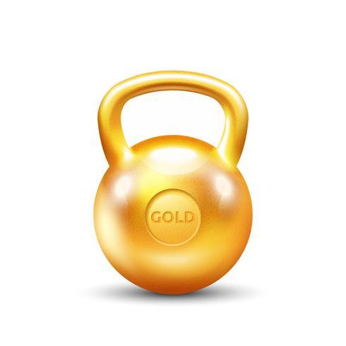 Kettlebell de ginásio de ouro sobre fundo branco vetor