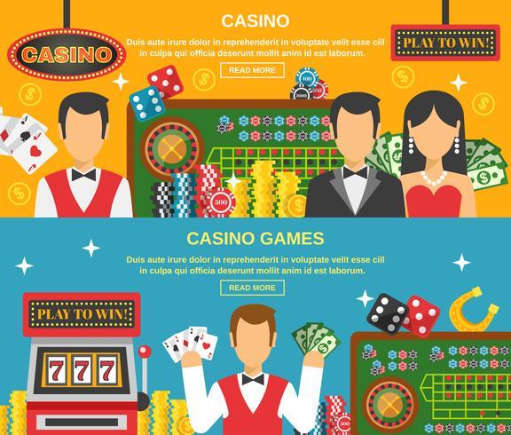 Casino e conjunto de Banners de jogo vetor