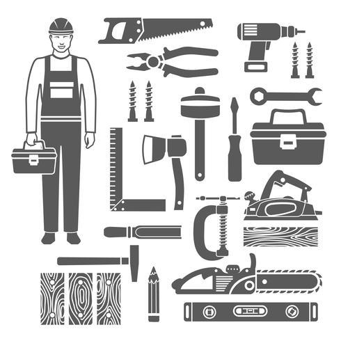 Conjunto de ícones de silhuetas de carpintaria preto silhuetas vetor