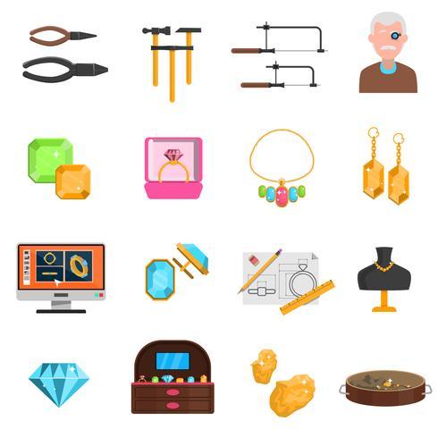 Conjunto de ícones de joalheiro vetor