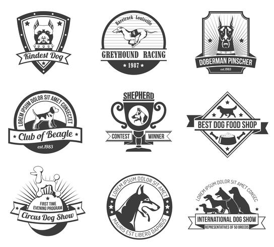 Conjunto de emblema de cães vetor