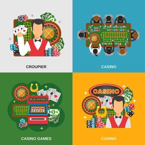 Conjunto de ícones do conceito de cassino vetor