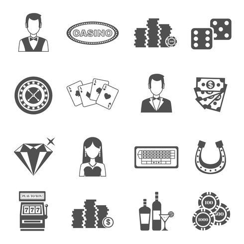 Conjunto de ícones de preto branco de cassino vetor