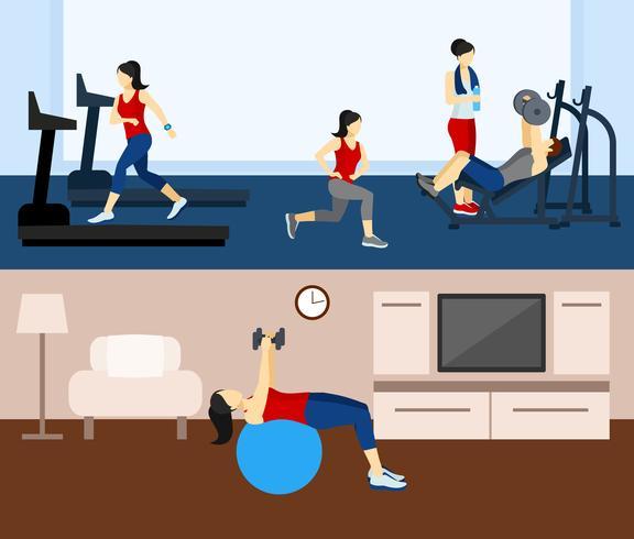 Banner de treino de fitness vetor