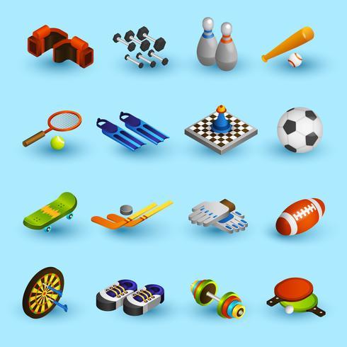 Conjunto de ícones de equipamentos de esporte vetor