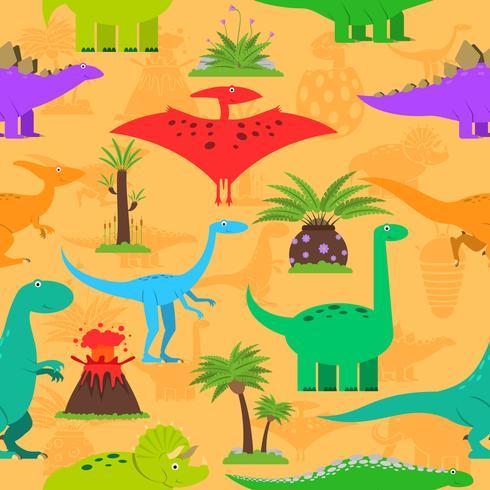 Padrão sem emenda de dinossauros vetor