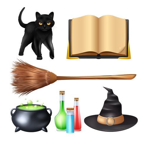 Conjunto mágico de Halloween vetor