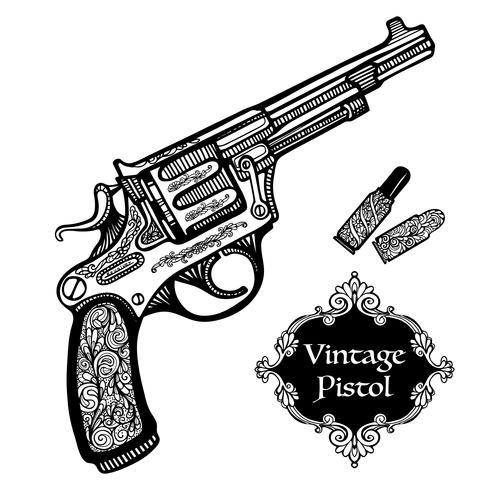 Pistolas retrô desenhadas à mão vetor