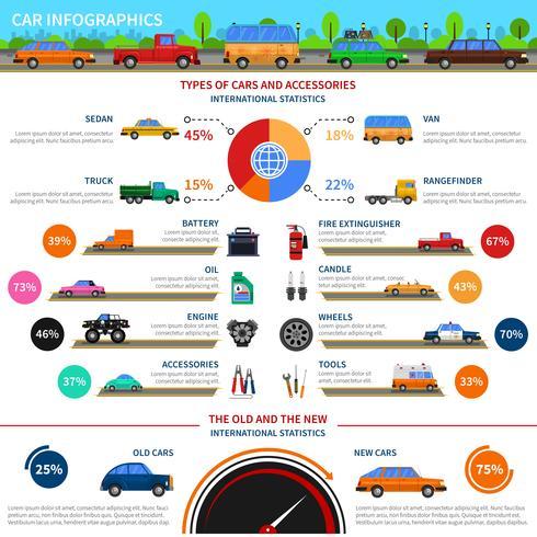 Tipos de carros infográfico conjunto vetor