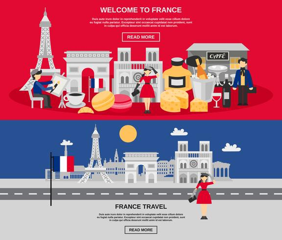 Conjunto de Banner da França vetor
