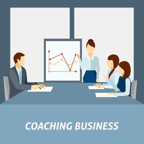 Cartaz de coaching de negócios bem sucedido vetor