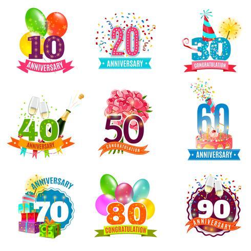 Conjunto de ícones de emblemas de aniversários de aniversário vetor