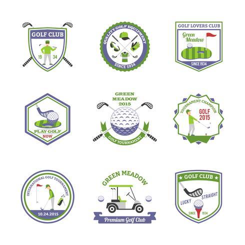 Conjunto de emblemas de golfe vetor