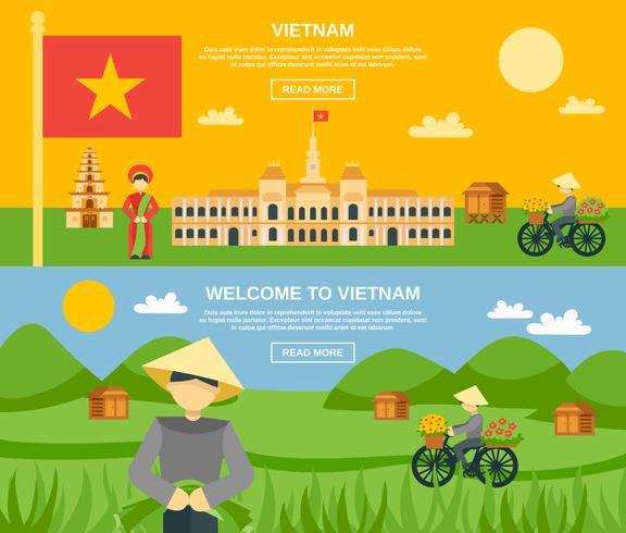 Conjunto de Banner do Vietnã vetor