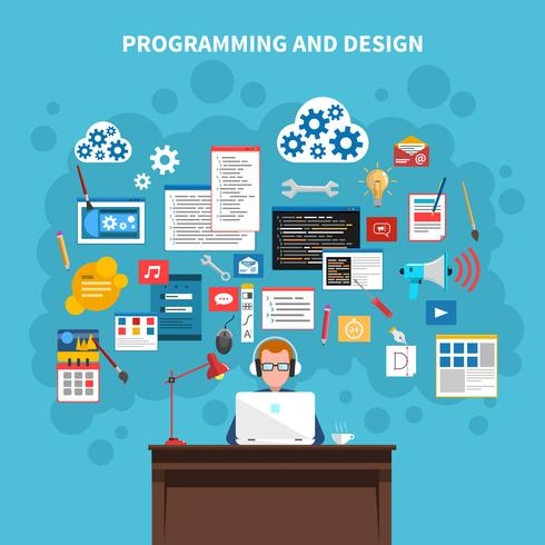 Ilustração do conceito de programação vetor