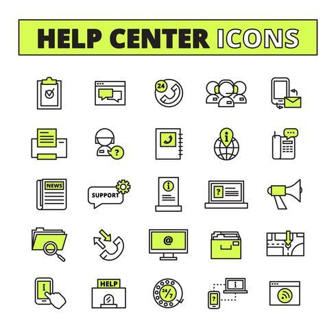 Conjunto de ícones de centro de chamada vetor