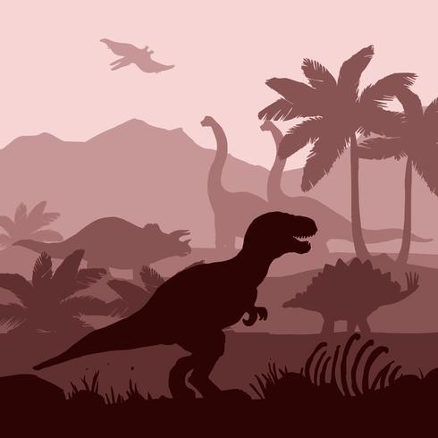 Os dinossauros mostram em silhueta a ilustração da bandeira do fundo das camadas. vetor