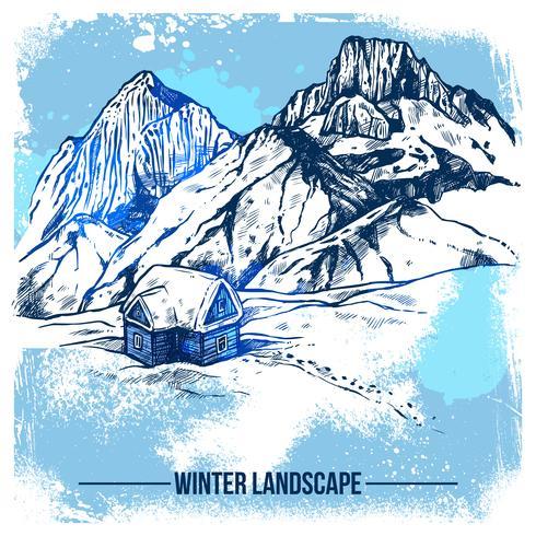 Casa de esboço em montanhas de inverno vetor