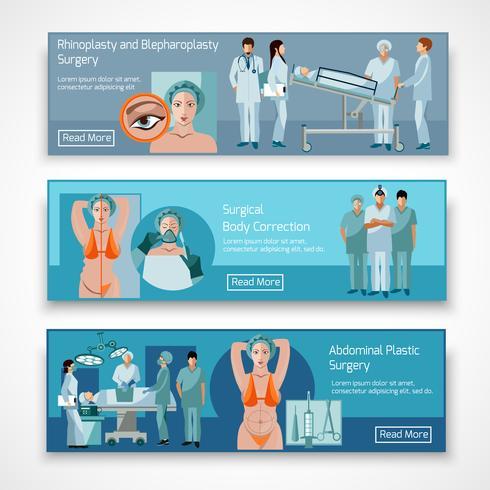 Conceito de cirurgia plástica 4 ícones planas quadrado vetor