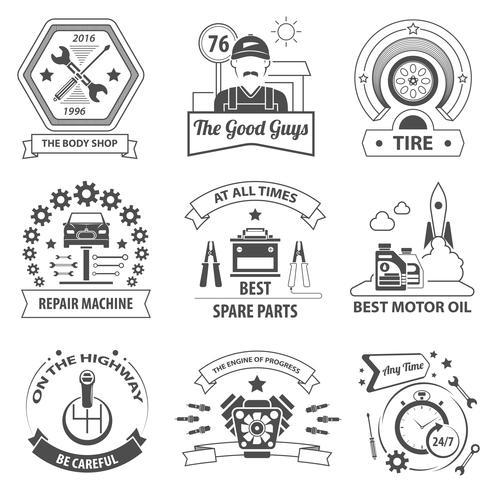 Conjunto de etiquetas de serviço de carro vetor