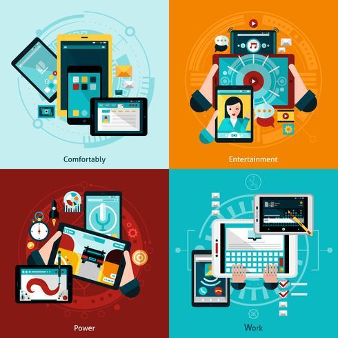 Conjunto de ícones do Phablet e Tablet vetor