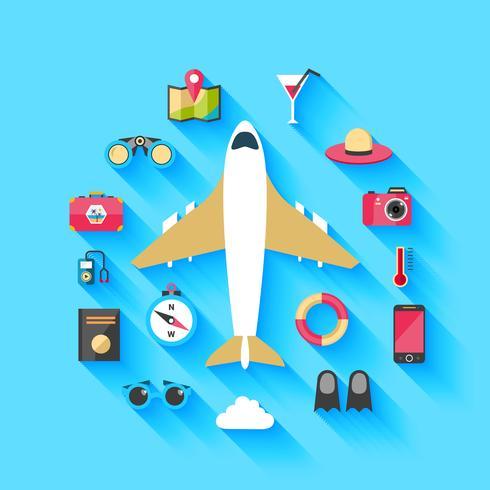 Cartaz de fundo de conceito de viagens de avião vetor