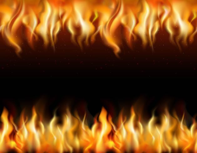 Conjunto de bordas de fogo tileable vetor