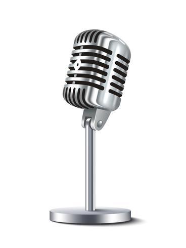 Microfone vintage isolado vetor