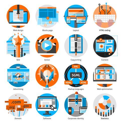 Conjunto de ícones redondos de trabalho on-line criativo vetor