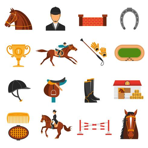Conjunto de ícones de cores planas com equipamento de cavalo vetor