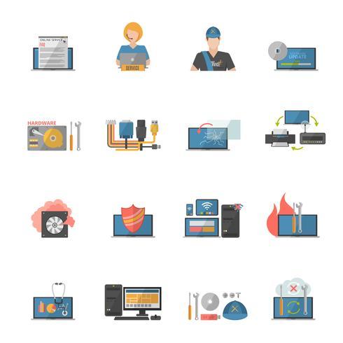 Conjunto de ícones de reparo de computador vetor