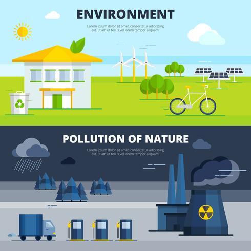 Conjunto de Banners de ambiente e poluição vetor