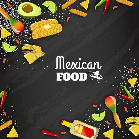 Fundo sem emenda de comida mexicana vetor