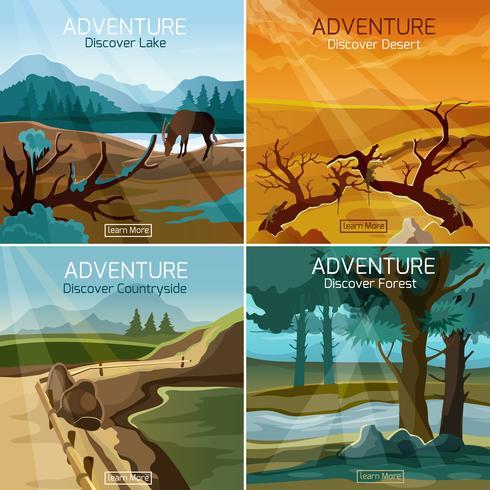 Paisagens de viagens 4 ícones quadrados plana vetor